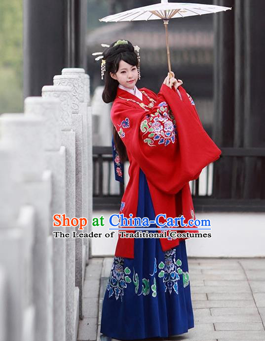 Asian Chinese Tang Dynasty Imperial Princess Costume, Traditional China Ancient Palace Lady Embroidered Red Cloak for Women