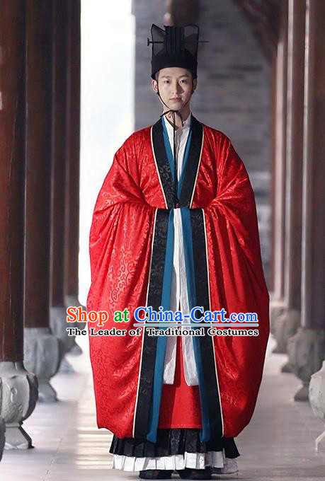 Asian Chinese Tang Dynasty Imperial Prince Wedding Costume, Traditional China Ancient Bridegroom Embroidered Clothing for Men