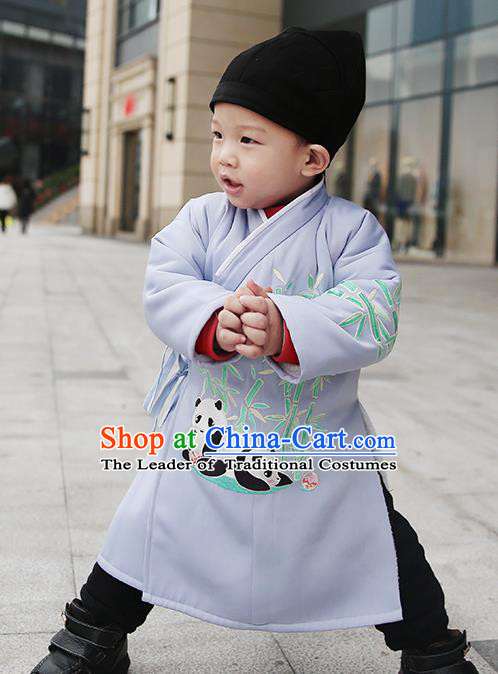 Asian Chinese Ming Dynasty Children Costume, Traditional China Ancient Embroidered Bamboo Grey Robe Clothing for Kids
