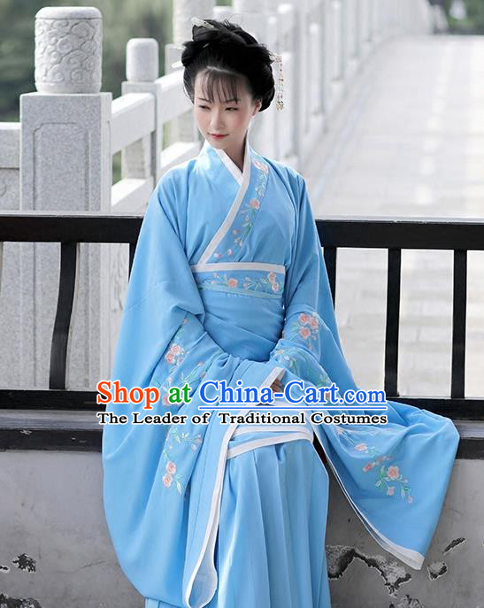 Asian Chinese Han Dynasty Costume Hanfu Embroidery Blue Curve Bottom, Traditional China Ancient Embroidered Dress Clothing for Women
