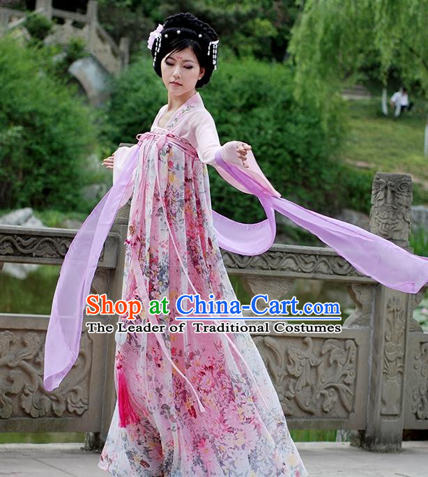 Asian Chinese Tang Dynasty Imperial Concubine Costume, Ancient China Palace Lady Printing Clothing for Women