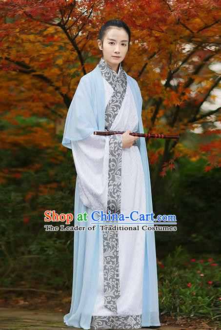Asian Chinese Han Dynasty Swordsman Costume, Ancient China Knight Embroidered Long Robe Clothing for Men