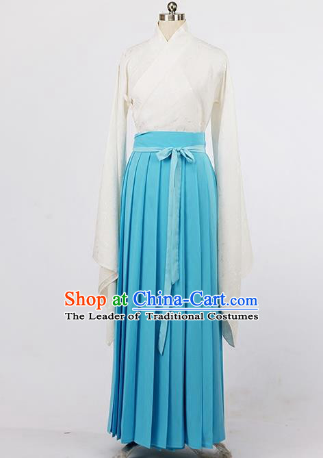 Asian Chinese Ming Dynasty Young Lady Costume, Ancient China Princess Silk Blue Skirt Clothing for Women