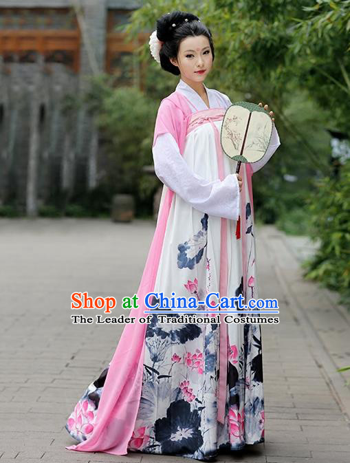 Asian Chinese Tang Dynasty Young Lady Costume, Ancient China Princess Printing Lotus Slip Skirt Clothing for Women