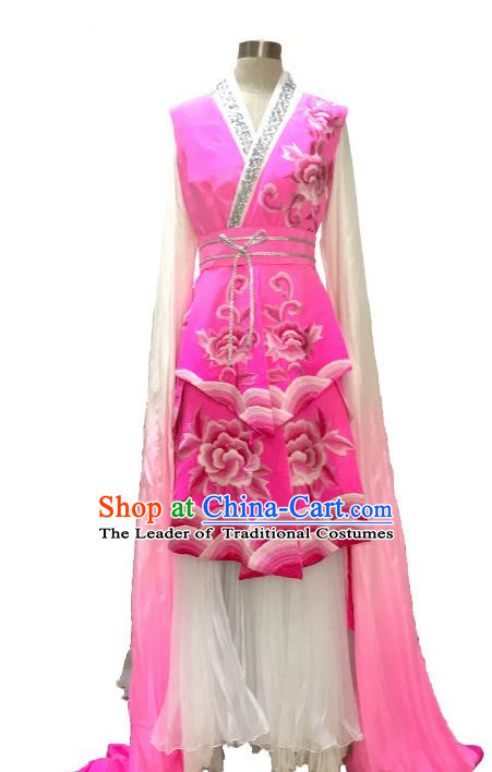 Traditional Chinese Ancient Classical Dance Costume, China Peking Opera Silk Water Sleeve Dance Clothing for Women