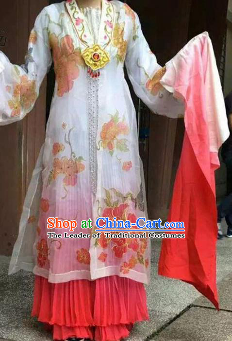 Traditional Chinese Peking Opera Dance Pink Water Sleeve Costume, China Ancient Beijing Opera Hua Tan Fairy Dance Clothing for Women