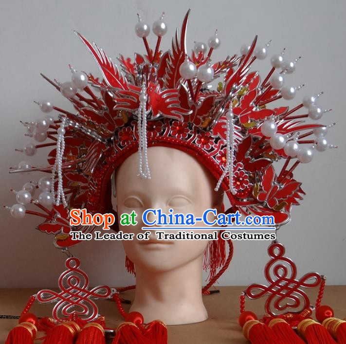 Traditional Chinese Ming Dynasty Imperial Empress Wedding Hats, China Ancient Bride Red Phoenix Coronet Headwear for Women