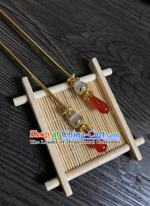 Traditional Handmade Chinese Hair Accessories Red Jade Hairpins, China Palace Lady Hanfu Hair Stick for Women