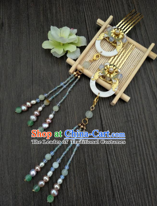 Traditional Handmade Chinese Hair Accessories Hanfu Shell Hair Comb, China Palace Lady Tassel Hairpins for Women