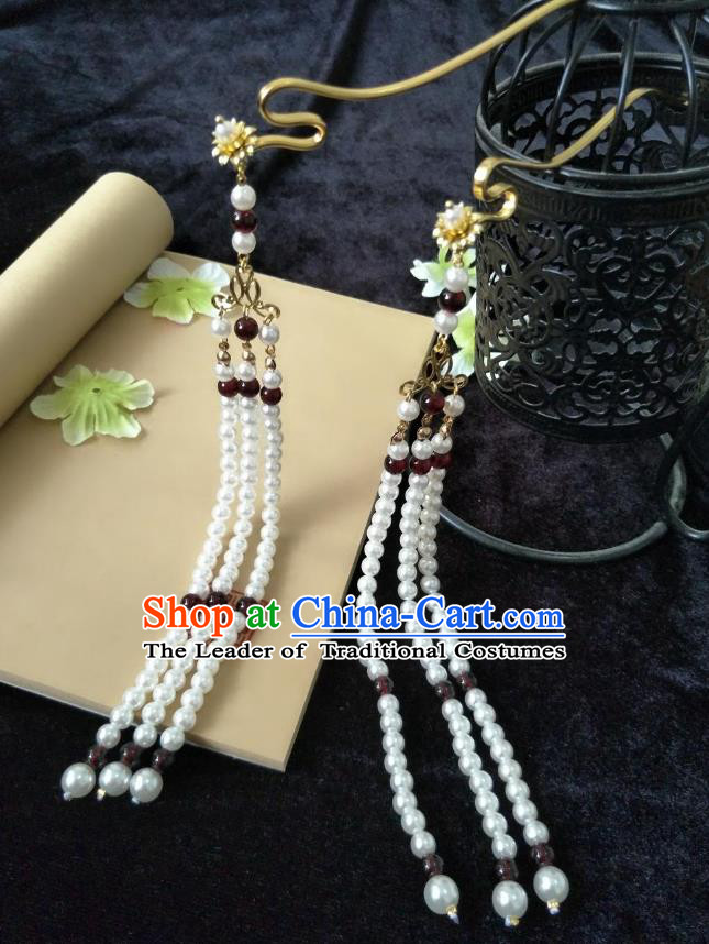 Traditional Handmade Chinese Hair Accessories Hanfu Hairpins, China Palace Lady Pearls Tassel Step Shake for Women