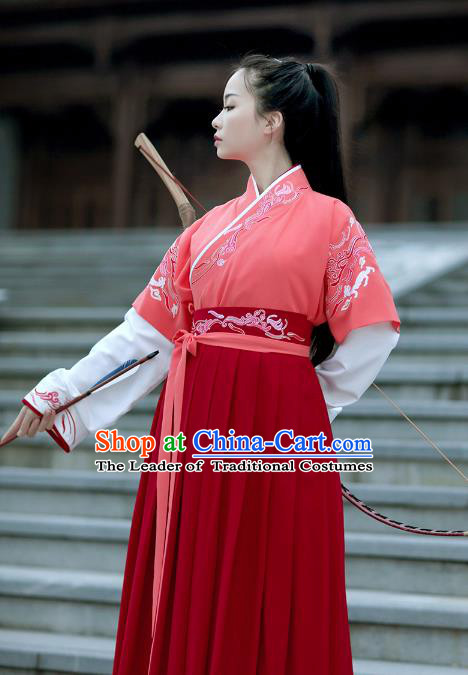 Asian Chinese Han Dynasty Swordswoman Red Costume, Ancient China Young Lady Embroidered Hanfu Clothing for Women