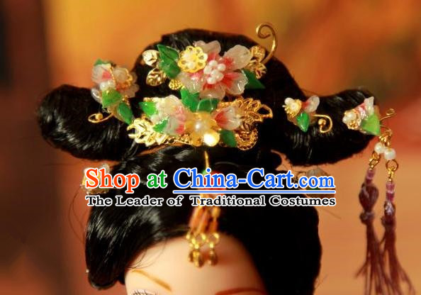 Traditional Handmade Chinese Qing Dynasty Hair Accessories Complete Set, Manchu High Coiffure Imperial Concubine Tassel Hairpins Headpiece