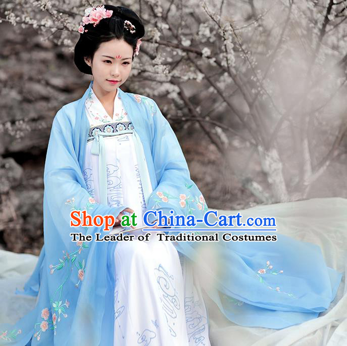 Asian Chinese Tang Dynasty Palace Lady Embroidered Wide Sleeve Cardigan, Ancient China Princess Hanfu Blue Cloak Clothing for Women