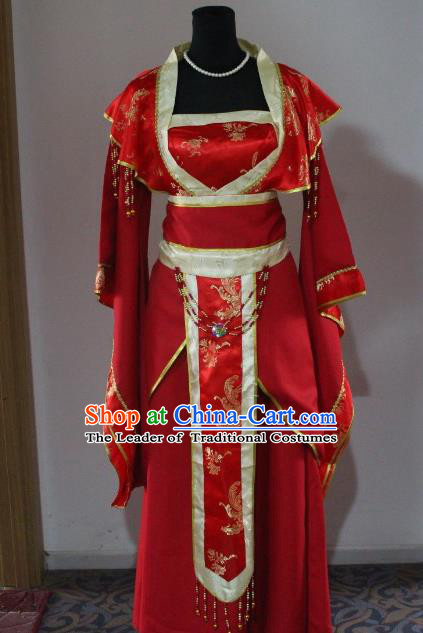 Traditional Ancient Chinese Imperial Consort Costume, Asian Chinese Tang Dynasty Empress Embroidered Clothing for Women