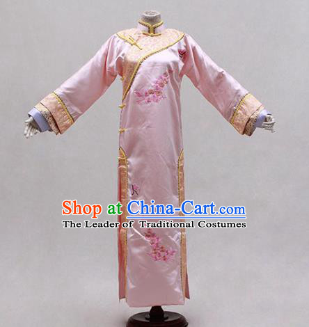 Traditional Ancient Chinese Manchu Imperial Concubine Pink Costume, Asian Chinese Qing Dynasty Princess Embroidered Dress Clothing for Women