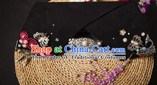 Traditional Handmade Chinese Hair Accessories Qing Dynasty Empress Banners Headwear, Manchu Imperial Concubine Hairpins for Women