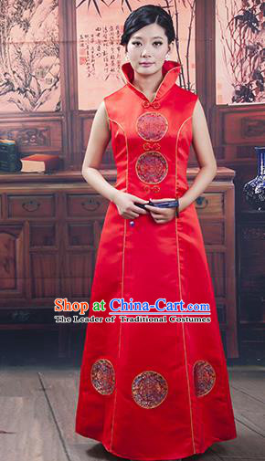 Traditional Ancient Chinese Republic of China Red Wedding Cheongsam, Asian Chinese Chirpaur Embroidered Qipao Dress Clothing for Women