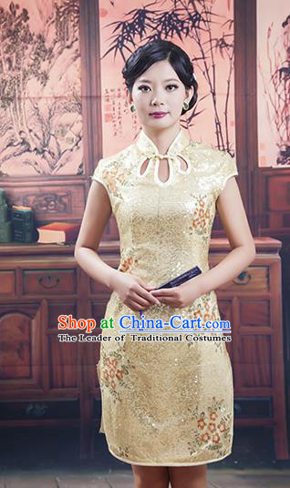 Traditional Ancient Chinese Republic of China Golden Silk Cheongsam, Asian Chinese Chirpaur Embroidered Qipao Dress Clothing for Women