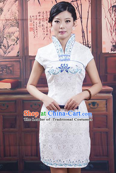 Traditional Ancient Chinese Republic of China Blue and White Porcelain Short Cheongsam, Asian Chinese Chirpaur Qipao Dress Clothing for Women