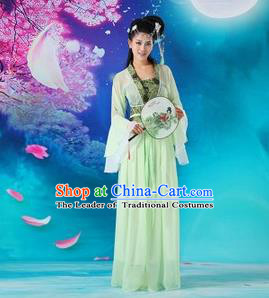 Asian China Ancient Tang Dynasty Palace Lady Costume, Traditional Chinese Hanfu Fairy Embroidered Dress Clothing for Women