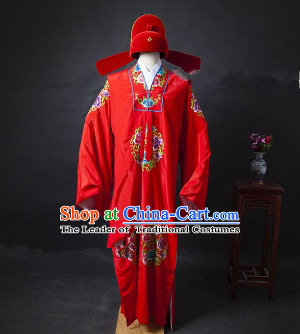Traditional Ancient Chinese Wedding Bridegroom Costume, Asian Chinese Ming Dynasty Embroidered Red Robe Clothing for Men