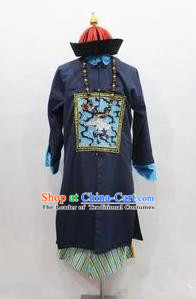 Traditional Ancient Chinese Manchu Costume, Asian Chinese Qing Dynasty Minister Clothing for Men