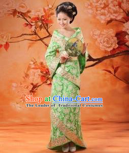 Traditional Ancient Chinese Palace Lady Costume, Asian Chinese Tang Dynasty Imperial Concubine Embroidered Green Dress Clothing for Women