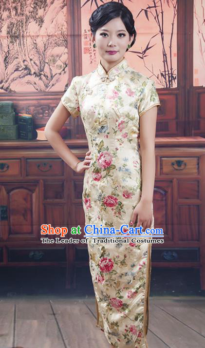 Traditional Ancient Chinese Republic of China Cheongsam Costume, Asian Chinese Embroidered Long Silk Chirpaur Clothing for Women