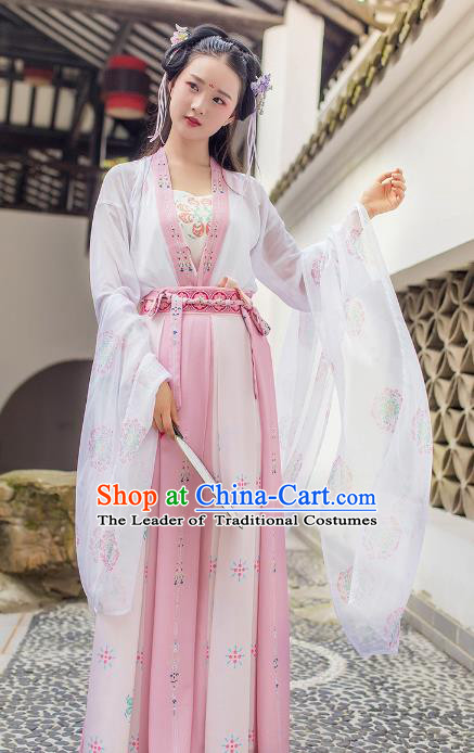 Asian Chinese Tang Dynasty Princess Embroidered Slip Skirt Costume, Ancient China Young Lady Embroidery Clothing Complete Set