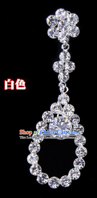 Traditional Beijing Opera Diva Jewelry Accessories Crystal Tassel Earrings, Ancient Chinese Peking Opera Hua Tan Eardrop