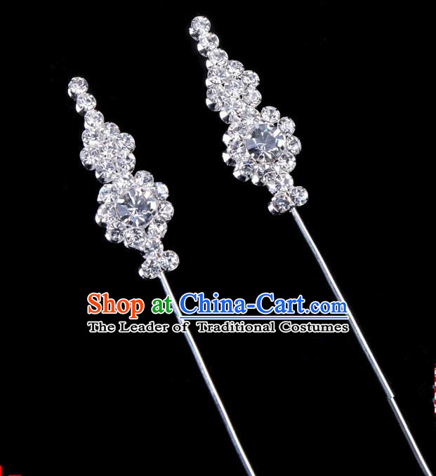 Traditional Beijing Opera Diva Hair Accessories Crystal Head Ornaments, Ancient Chinese Peking Opera Hua Tan Hairpins Hair Stick Headwear
