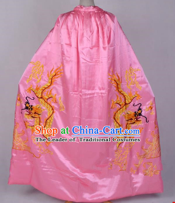 Top Grade Professional Beijing Opera Costume Emperor Embroidered Pink Cloak, Traditional Ancient Chinese Peking Opera King Embroidery Dragons Mantle Clothing