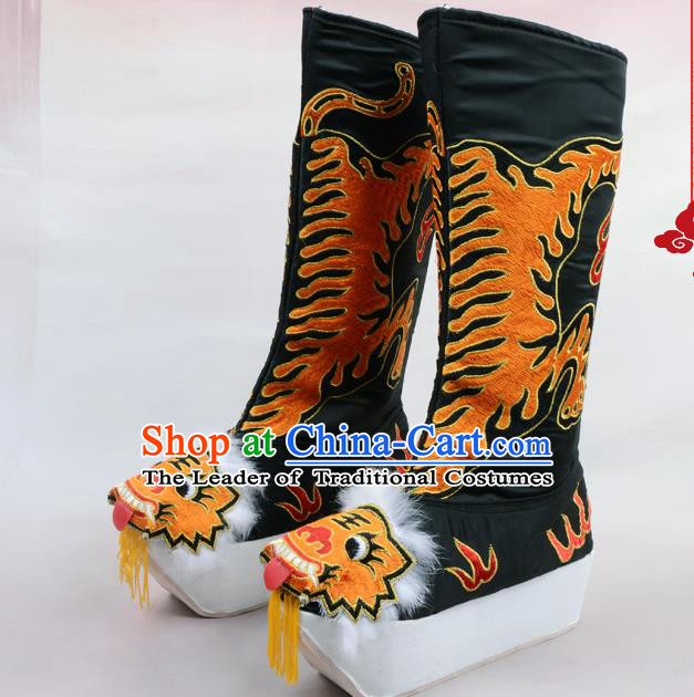Traditional Beijing Opera Emperor Embroidered Black Boots Tiger-head Shoes, Ancient Chinese Peking Opera Takefu Satin Embroidery High Leg Boots