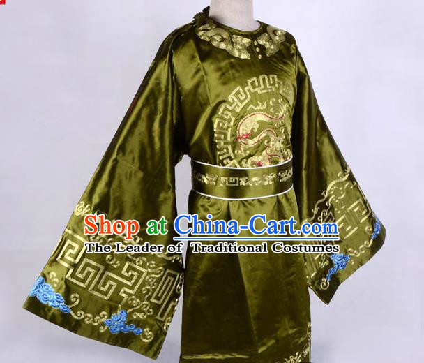 Top Grade Professional Beijing Opera Niche Costume Officer Green Embroidered Robe, Traditional Ancient Chinese Peking Opera Embroidery Gwanbok Clothing