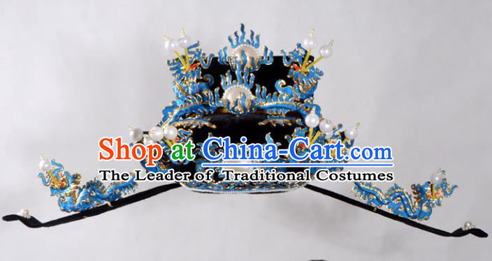 Traditional Beijing Opera Niche Hair Accessories Royal Highness Hat, Ancient Chinese Peking Opera Emperor Hat Headwear