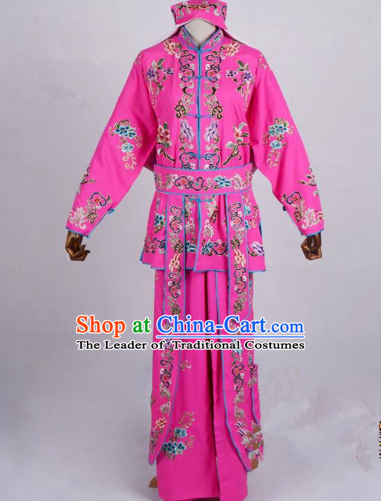 Traditional China Beijing Opera Swordplay Costume, Ancient Chinese Peking Opera Blues Warrior Embroidery Pink Clothing