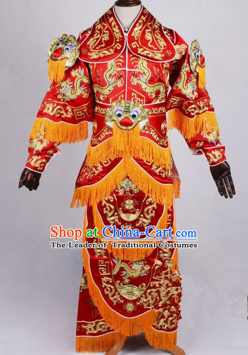 Top Grade Professional Beijing Opera General Costume Silk Embroidered Robe, Traditional Ancient Chinese Peking Opera Military Officer Embroidery Robe Clothing