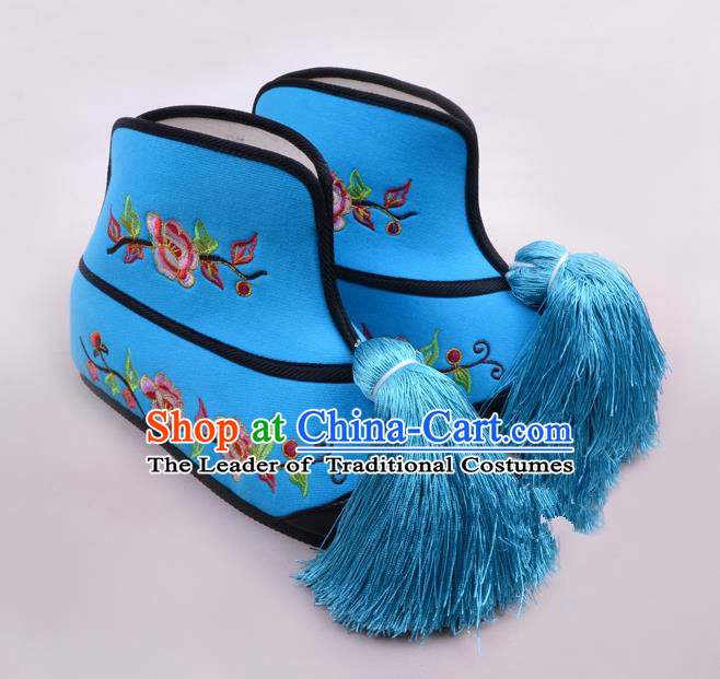 Traditional Beijing Opera Swordplay Embroidered Blue Boots Young Lady Shoes, Ancient Chinese Peking Opera Blues Shoes