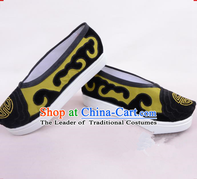 Traditional Beijing Opera Cloth Shoes Old Women Green Shoes, Ancient Chinese Peking Opera Pantaloonn Flange Shoes