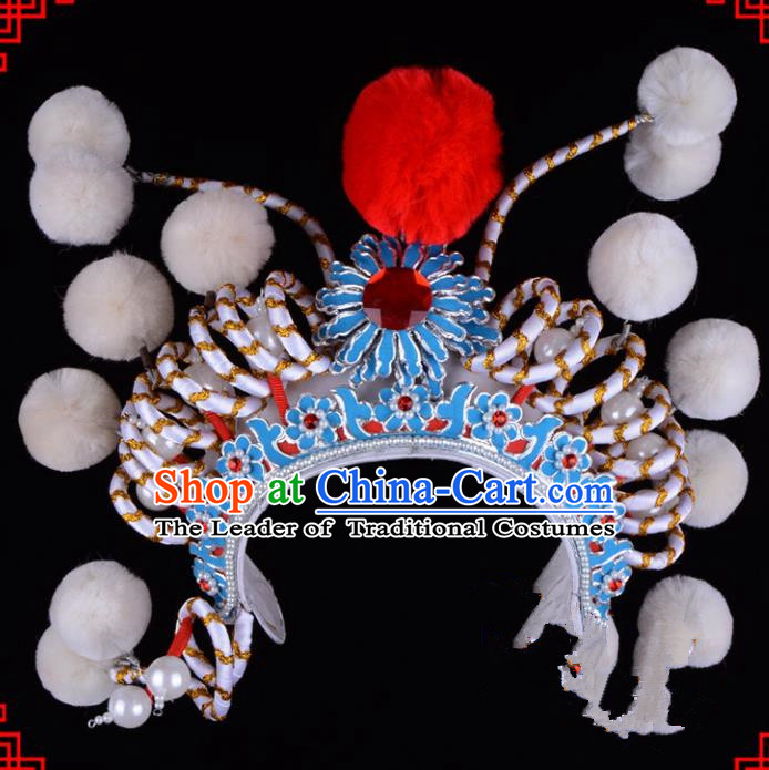 Traditional Beijing Opera Swordplay Hair Accessories Hat, Ancient Chinese Peking Opera Young Lady Blues Headwear