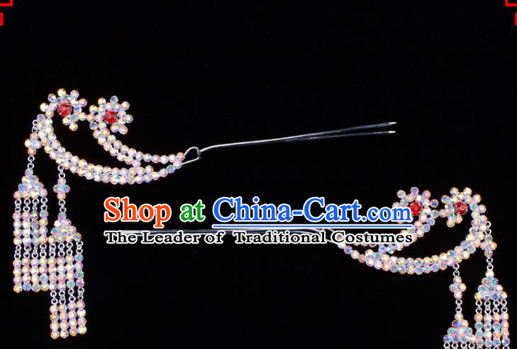 Traditional Beijing Opera Diva Hair Accessories Colorful Crystal Tassel Step Shake Phoenix Hairpins, Ancient Chinese Peking Opera Hua Tan Hair Stick Headwear