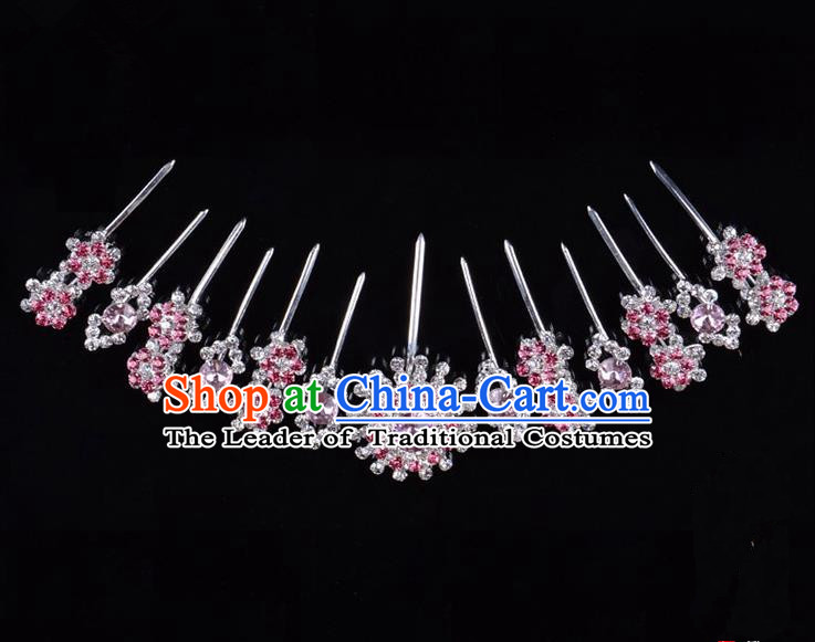 Traditional Beijing Opera Diva Hair Accessories Pink Crystal Hairpins Head Ornaments Complete Set, Ancient Chinese Peking Opera Hua Tan Hair Stick Headwear