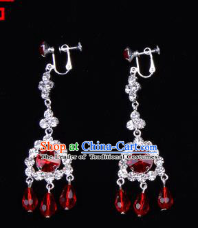 Traditional Beijing Opera Diva Jewelry Accessories Red Crystal Earrings, Ancient Chinese Peking Opera Hua Tan Tassel Eardrop