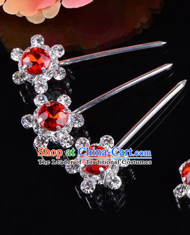 Traditional Beijing Opera Diva Hair Accessories Red Crystal Hair Stick, Ancient Chinese Peking Opera Hua Tan Hairpins