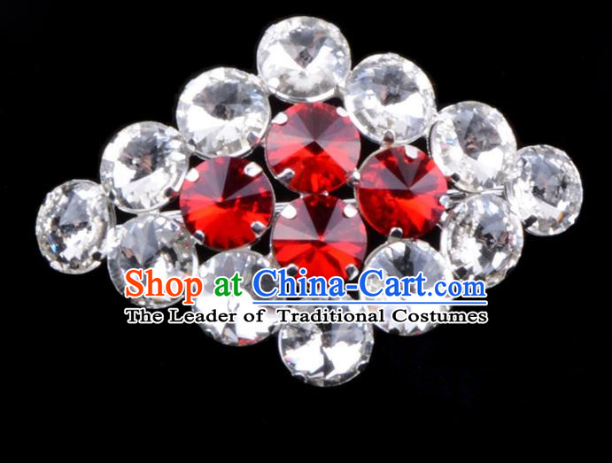 Traditional Beijing Opera Young Lady Jewelry Accessories Diva Red Crystal Brooch, Ancient Chinese Peking Opera Hua Tan Breastpin