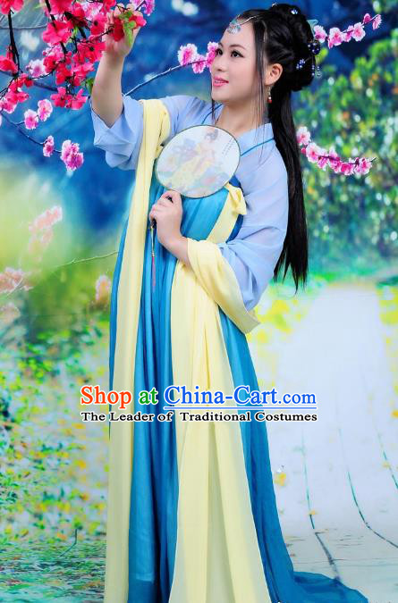 Traditional Ancient Chinese Imperial Consort Hanfu Fairy Costume Chest Ru Skirt, Chinese Tang Dynasty Palace Lady Elegant Dress Clothing
