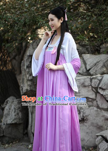 Traditional Ancient Chinese Palace Lady Embroidered Costume Blouse and Skirt, Elegant Hanfu Chinese Tang Dynasty Princess Dress Clothing for Women