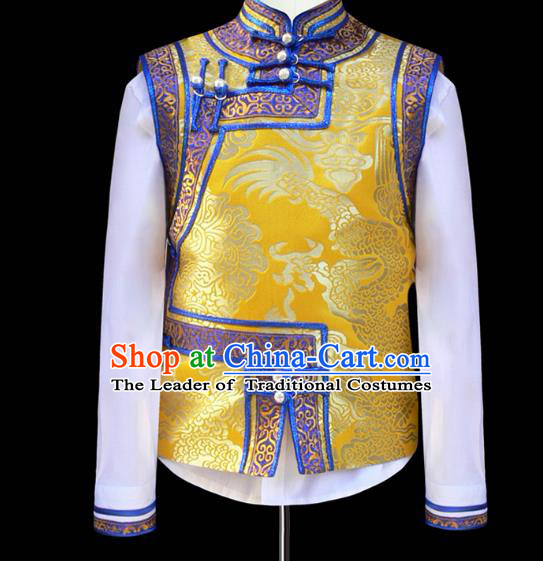 Traditional Chinese Mongol Nationality Costume Children Mongolian Vest, Chinese Mongolian Minority Nationality Dance Waistcoat for Kids