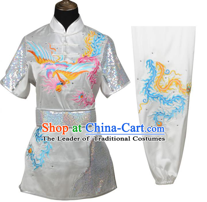 Top Kung Fu Costume Martial Arts Costume Kung Fu Training White Uniform, Gongfu Shaolin Wushu Embroidery Dragon and Phoenix Tai Ji Clothing for Women
