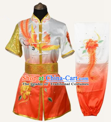 Top Kung Fu Costume Martial Arts Costume Kung Fu Training Orange Uniform, Gongfu Shaolin Wushu Embroidery Peony and Phoenix Tai Ji Clothing for Women